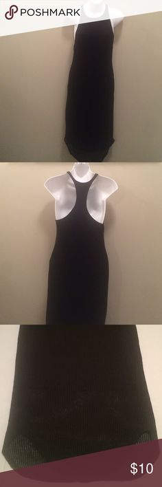 """Black Dress This racer back dress is super soft and has rubbed fabric. It is fully lined and lightly worn. It is made out of 65% polyester35% rayon. It is a size small and measures approximately 42"""" from top to bottom. Sparkle & Fade Dresses"""
