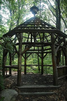A Rustic Arbor Made From Fallen Trees In The Woods Id Want Mine