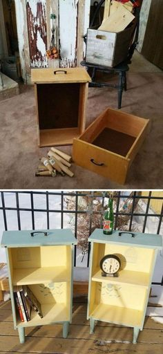 Upcycled Drawers To Shabby Chic Side Tables - this could make a good prop at a craft fair #shabbychicfurnitureideas