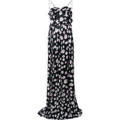 Balenciaga Bal Summer Gown (€2.495) ❤ liked on Polyvore featuring black, floral print evening gown, summer evening dresses, evening gowns, summer dresses and evening cocktail dresses
