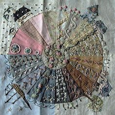 embroidery on patchwork Embroidery Art, Cross Stitch Embroidery, Embroidery Patterns, Quilt Patterns, Block Patterns, Crazy Quilt Stitches, Crazy Quilt Blocks, Crazy Quilting, Quilting Ideas
