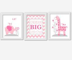 Elephant Nursery Wall Decor baby girl nursery wall art pink purple elephant giraffe safari