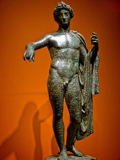 Apollo with elaborate hairstyle in a strong contrapposto stance  Roman 1st - 2nd century CE Bronze