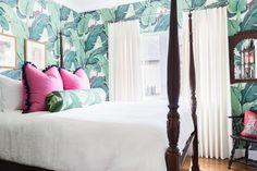 Palm leaf. Pink pillows. Navy pom trim. Pink and green. Bedroom. Interior Design // Austin Bean Design Studio.  Photography // Alyssa Rosenheck. Featured // Rue Magazine