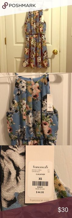 NWT Floral Dress NWT - I bought it for a wedding shower and decided to wear something else. Beautiful floral pattern - fully lined - cinched waist - Blue Rain from Francesca's - XS Francesca's Collections Dresses Mini