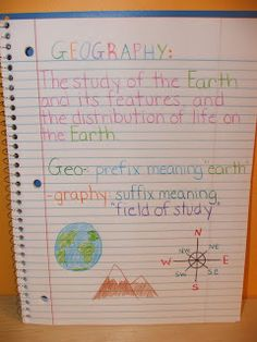 Example definition page from an interactive geography notebook