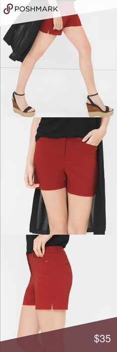 NWT WHBM Coastal Stretch Shorts Cute summer staple with flat front styling. Comfortable with a nice feel! A blouson top would accent the sharp lines of these shorts. Out of stock at WHBM. Brand new. Cinnamon color. Size 0. No trades. White House Black Market Shorts