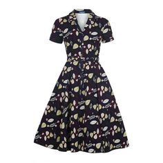 Collectif Vintage Caterina Woodland Leaves Swing Dress (240 BRL) ❤ liked on Polyvore featuring dresses, leaf dress, leaf print dress, swing dress, vintage swing dress and pocket dresses