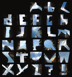 These photographs use urban buildings to frame letterforms. The empty sky becomes the dominant figure, and the buildings become the background that makes them visible. Courtesy of Lisa Rienermann, University of Essen, Germany.As published in Graphic Design: The New Basicsby Ellen Lupton and Jennifer Cole Phillips—the revised and updated edition is coming July 2015. via @aiga