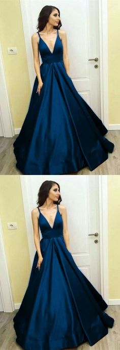 Prom Dress Princess, Plunge V-neck Long Satin Floor Length Prom Ball Gown Dresses 2018 Shop ball gown prom dresses and gowns and become a princess on prom night. prom ball gowns in every size, from juniors to plus size. Elegant Bridesmaid Dresses, Simple Prom Dress, Trendy Dresses, Sexy Dresses, Formal Dresses, Long Dresses, Dress Long, Elegant Dresses, Pageant Dresses For Teens
