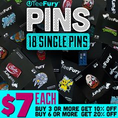 TeeFury Pins  Don't forget - TeeFury is now offering single pins! Quantities are very limited so don't wait!