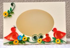 Paper Quilling Blank card quilled birds, fringed flower, photo frame by PaperSimplicity