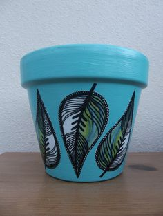Green Leaves Large Plant Pot. £6.00, via Etsy Made by me (Facebook: Posh Pots By Sarah) Lovely Spring look =)