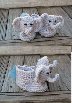 Crochet Pattern 021 - Elephant Booties - 3 Sizes | desertdiamond - Patterns on ArtFire