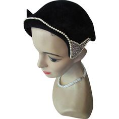 Mid-Century Black Hat in Velvet Velour with Faux Pearl and Rhinestone Decoration by Pasadena Hats