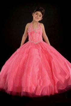 pink round-neck halter ball gown satin little/junior bridesmaid/flower girls dresses, 2012 popular