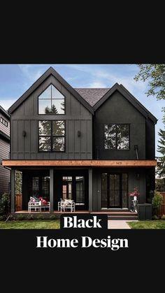 Black House Exterior, House Paint Exterior, Exterior House Colors, Dark Siding House, House Exterior Design, Outside House Paint Colors, Home Styles Exterior, Dark House, Metal Building Homes