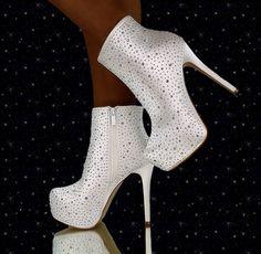 Luxus Stiefeletten mit strass Weiß Sexy High Heels designer boots Party Schuhe…