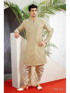 Golden Fancy Kurta with Dhoti Mens Wear