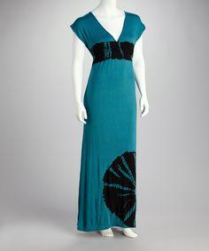 Teal Tie-Dye Maxi Dress