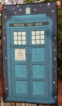 TARDIS IV quilt, measures x Today I'm sharing my fourth finished TARDIS quilt. I hope you guys aren't getting tired of seei. Doctor Who Quilt, Doctor Who Fan Art, Tardis Quilt Pattern, Quilt Patterns, Panel Quilts, Quilt Blocks, Sewing Crafts, Sewing Projects, American Quilt