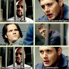 [GIFSET] 3x12 Jus In Bello - I think what's so heartbreaking about this scene was the fact that Dean was fine with joking about spending his life in prison, but he just couldn't bring himself to joke about being away from his little brother forever because that's what scares him more than anything else in this world.