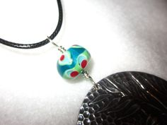 Handcrafted Teal Glass Bead Dragonfly Pendant by BlueberryBayBeads, $35.00