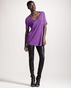 T by Alexander Wang Classic Short-Sleeve Tee & Four-Pocket Leather Leggings - Bergdorf Goodman, tunic $80, leggings, $350, total look: $430