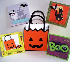 "PUMPKIN BAG & CARDS *** Designed by AScrapbookNut *** ""Pumpkin Icon"" from Create A Critter 2 makes a pumpkin bag to hold mini-notecards.  Designer tip: make your own adhesive for your envelopes using Elmer's glue, vinegar and a drop of peppermint extract.  #Cricut"