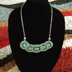 Necklace  Hand made seed beaded necklace, nice Cole combination and scheme. Each bead is individually hand sewn to creat this uniquely beautiful piece. Am all about #basic #sophistication. BasicSophistication Jewelry Necklaces