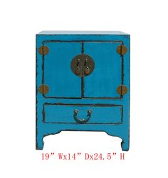 Nightstand End Table Chinese Rustic Blue Lacquer Moon Face Cabinet - Golden Lotus Antiques  650-522-9888 goldenlotusinc@yahoo.com