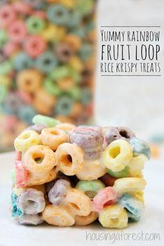 Fruit Loops Recipe ~ Rainbow Squares.  Similar to traditional Rice Krispy Treats.