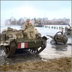 """""""A British Universal Carrier Mark I comes ashore during the invasion of Sicily on 10 July 1943."""" (Imperial War Museum caption) We think this should read; """"On 10 July 1943 elements of the 1st Canadian Division and 1st Canadian Armoured Brigade land in Sicily"""" The following Canadian units were awarded the Battle Honour """"Landing in Sicily"""" for participation in these actions: 1st Canadian Armoured Brigade 12th Canadian Armoured Regiment (The Three Rivers Regiment) 1st Canadian Division 4"""