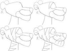 Draw Tigers Draw tiger from winnie pooh Dad Drawing, Tiger Drawing, Basic Drawing, Step By Step Drawing, Drawing For Kids, Drawing Sketches, Painting & Drawing, Cartoon Drawings, Animal Drawings