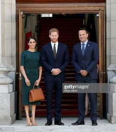 Ireland's Taoiseach Leo Varadkar poses with Britain's Prince Harry and wife Meghan the Duke and Duchess of Sussex on arrival in Dublin at the start...