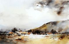 Watercolour-Acuarela-Corneliu-Dragan-Targoviste-peisaj-rural-26