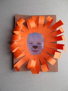 Lion faces using a picture of your child. Great for jungle or letter l themes.
