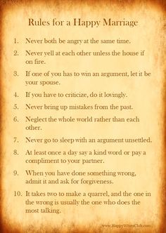 """TEXT: """"Rules for a happy marriage: 1. Never both be angry at the same time. 2. Never yell at each other unless the house is on fire. 3. If one of you has to wi"""