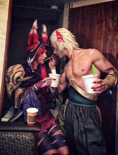 """""""If you're hungry, then your beloved Rakan will feed you!""""❤ Rakan by Leon_Chiro  Xayah -- littlejem4  #cosplay #LeagueofLegends #game"""