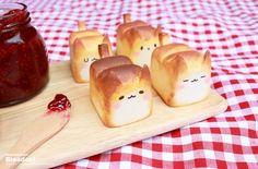 épinglé par ❃❀CM❁✿Mini Cat Bread from Korea Bento Kawaii, Cat Bread, Bread Jam, Cute Baking, Kawaii Dessert, Good Food, Yummy Food, Cafe Food, Aesthetic Food