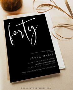40th Birthday Invitation Template Minimalist Birthday | Etsy