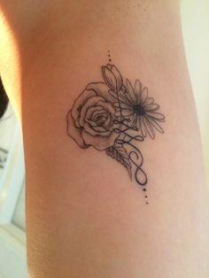 Unalome tattoo #daisy #rose #tulip