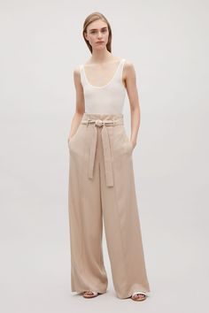 COS image 9 of Belted high-waist trousers in Khaki Beige