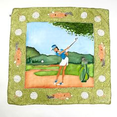 Play GOLF! Hand painted silk scarf with golf theme. Buy it on: www.birdiecountry.com Painted Silk, Hand Painted, Golf Theme, Golf Gifts, Epoch, Play Golf, Artist, People, Stuff To Buy