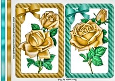 pretty gold roses wth bows and borders card fronts on Craftsuprint - View Now!