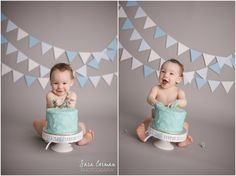 Sara Corman Photography; Blue and Gray Cake Smash; Smash Cake; Classic Boy; Wood Wall Backdrop; One Year Photos