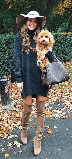 #fall #outfits woman's black long sleeved midi dress with pair of brown knee thigh boots