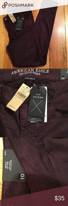 """NWT AMERICAN EAGLE JEGGING BRAND NEW BRAND NEW WITH TAGS AMERICAN EAGLE JEGGING JEANS. GORGEOUS DARK BERRY COLOR WITH THE AEO SATEEN FABRIC. The fabric isn't satin like but it is really soft. Power Stretch. Size 10R low rise with a 28"""" inseam. FROM MY CLEAN NON SMOKING HOME. Check out my other items as I am cleaning out closets and listing a lot of good stuff! I do bundle. Thanks for looking!😊 American Eagle Outfitters Jeans Skinny"""