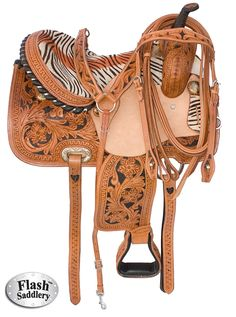 My little girl would just faint at the sight of this saddle. Pretty sure I couldnt get her off of Princess Tawny.  14 16 Zebra Western Horse Barrel Racing Saddle $399