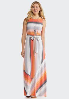 abef00ce68d Petite Multi Stripe Maxi Dress Junior Misses Cato Fashions